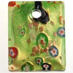 Lampwork Millefiori Fetë Pendants, Drejtkëndësh, pluhur ari, 44x35x9mm, : 6mm, 10PC/Qese,  Qese