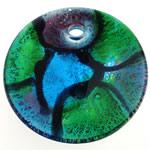 Pendants Silver Lampwork petë, Round Flat, petë argjendi, 46x10.50mm, : 5mm, 10PC/Qese,  Qese