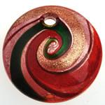 Pendants Lampwork Fashion, Monedhë, rërë ari dhe argjendi me letër varaku, 49x12.50mm, : 5.5mm, 10PC/Qese,  Qese