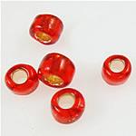 Silbereinzug Glas Rocailles, Glas-Rocailles, rund, rot, 2x1.90mm, Bohrung:ca. 1mm, verkauft von Tasche