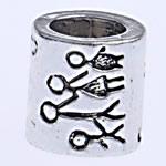 Beads European aliazh zink, Alloy zink, Tub, pa karrem, , nikel çojë \x26amp; kadmium falas, 8.50x8mm, : 5mm, 10PC/Qese,  Qese