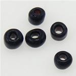 I mbuluar me brymë Seed Glass Beads, Rondelle, e zezë, 2x1.90mm, : 1mm,  Qese