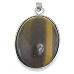 Syri Tiger Pendants, with Tunxh, Oval, 27x44x10mm, : 6.3x4.5mm, 10PC/Qese,  Qese