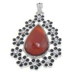 Pendants Red agat, Lot, ngjyrë platin praruar, me diamant i rremë, 34.30x50.50x8mm, : 7x4mm, 10PC/Qese,  Qese