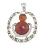 Pendants Red agat, me diamant i rremë, 36.70x45.50x8mm, : 10.8x6mm, 10PC/Qese,  Qese