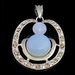 Deti Pendants opal, Deti Opal, with Tunxh, Round, me diamant i rremë, 36.70x45.50x8mm, : 10.8x6mm, 10PC/Qese,  Qese