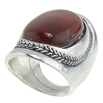 Ring Finger gur i çmuar, Red agat, 20x37mm, 18.5mm, :8, 10PC/Qese,  Qese
