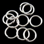 Iron Mbyllur Ring Jump, Hekur, Petull e ëmbël në formë gjevreku, Ngjyra argjend praruar, asnjë, , nikel çojë \x26amp; kadmium falas, 1x8mm, : 5.8mm, 8850PC/Qese,  Qese