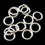 Iron Mbyllur Ring Jump, Hekur, Petull e ëmbël në formë gjevreku, Ngjyra argjend praruar, asnjë, , nikel çojë \x26amp; kadmium falas, 0.80x5mm, : 3mm, 14200PC/Qese,  Qese