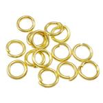 Iron Mbyllur Ring Jump, Hekur, Petull e ëmbël në formë gjevreku, ngjyrë ari praruar, asnjë, , nikel çojë \x26amp; kadmium falas, 0.70x4mm, : 3mm, 20000PC/Qese,  Qese