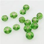 Silbereinzug Glas Rocailles, Glas-Rocailles, grün, 2x3mm, Bohrung:ca. 1mm, verkauft von Tasche