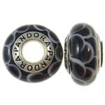 Lampwork Style European, Rondelle, core argjendi i pastër vetëm me karrem, 8x14mm, : 4.5mm, 10PC/Qese,  Qese