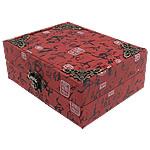 Saten byzylyk Box, with Velveteen, Drejtkëndësh, i kuq, 125x163x58mm, 5PC/Shumë,  Shumë