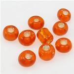 Silbereinzug Glas Rocailles, Glas-Rocailles, rote Orange, 3x3.60mm, Bohrung:ca. 1mm, verkauft von Tasche