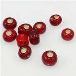 Silver Beads rreshtuar qelqi farë, Seed Glass Beads, kuqe të thellë, 3x3.60mm, : 1mm,  Qese
