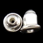 Iron Komponenti veshit Nut, Hekur, Ngjyra argjend praruar, asnjë, , nikel çojë \x26amp; kadmium falas, 6x5mm, : 1mm, 10000PC/Qese,  Qese