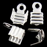 Këshilla Cord Hekuri, Ngjyra argjend praruar, asnjë, , nikel çojë \x26amp; kadmium falas, 7.50x5x4mm, : 1.3mm, 10000PC/Qese,  Qese