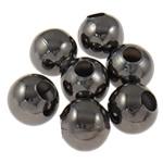 Beads bizhuteri Hekuri, Round, plumbit ngjyrë të zezë praruar, asnjë, , nikel çojë \x26amp; kadmium falas, 7mm, : 2.8mm, 5000PC/Qese,  Qese