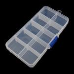 Nail bizhuteri Box, Plastik, Drejtkëndësh, asnjë, i tejdukshëm, e bardhë, 130.50x70x22.50mm, : 6.3mm,  PC
