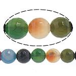 Natürliche Regenbogen Achat Perlen, rund, facettierte, 8mm, Bohrung:ca. 1mm, Länge:ca. 14.5 ZollInch, 10SträngeStrang/Menge, ca. 45PCs/Strang, verkauft von Menge