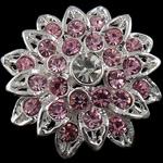 Karficë zbukurimi diamant i rremë, Lule, me diamant i rremë, argjend, 29x28mm, 20PC/Qese,  Qese