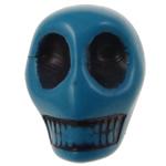 Antike Acrylperlen, Acryl, Schädel, opark, antik imitieren, blau, 12.50x10x12mm, Bohrung:ca. 2mm, 595PCs/Tasche, verkauft von Tasche