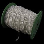 Twist Hekuri Oval Zinxhiri, Ngjyra argjend praruar, asnjë, , nikel çojë \x26amp; kadmium falas, 3.80x4.80x1mm, :50m,  PC