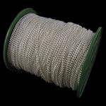 Twist Hekuri Oval Zinxhiri, Ngjyra argjend praruar, asnjë, , nikel çojë \x26amp; kadmium falas, 3x4x0.80mm, :100m,  PC