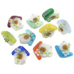 Beads dorë Lampwork, Shtëpi, punuar me dorë, 18.2-20.5x17.5-20x17.2-18mm, : 2mm, 50PC/Qese,  Qese