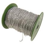 Zinxhiri Iron Oval, Hekur, ngjyrë platin praruar, asnjë, , nikel çojë \x26amp; kadmium falas, 2.80x4x0.70mm, :100m,  PC