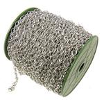 Zinxhiri Iron Oval, Hekur, ngjyrë platin praruar, asnjë, , nikel çojë \x26amp; kadmium falas, 6x8x1.20mm, :50m,  PC