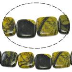 Regenbogen Venen Perlen, bunte Venen Stein, Quadrat, natürlich, 15x15x6mm, Bohrung:ca. 1.5mm, ca. 25PCs/Strang, verkauft per ca. 15 ZollInch Strang