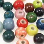 Beads xham porcelani, Round, xham, ngjyra të përziera, 8-10mm, : 2-2.5mm, 193PC/Qese,  Qese