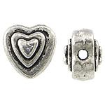 Beads Zink Alloy Zemra, Alloy zink, Zemër, Ngjyra antike argjendi praruar, asnjë, , nikel çojë \x26amp; kadmium falas, 6x6x4.70mm, : 1mm, 1428PC/KG,  KG