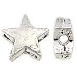 Zink Legierung Perlen Schmuck, Zinklegierung, Stern, antik silberfarben plattiert, frei von Blei & Kadmium, 6.50x6.50x3mm, Bohrung:ca. 1mm, ca. 2500PCs/Tasche, verkauft von Tasche