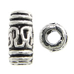 Beads Zink Alloy Tube, Alloy zink, Ngjyra antike argjendi praruar, asnjë, , nikel çojë \x26amp; kadmium falas, 3x6.50mm, : 1mm, 5555PC/KG,  KG