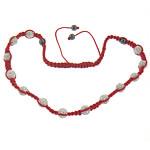 Shamballa Gjerdan, Argjilë, with Cord Wax & Jo-magnetike kuqe e mbylltë, me diamant i rremë, 10mm, 8mm, :14-24Inç,  14-24Inç,