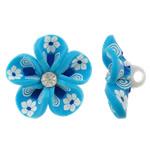 Polymer Ton Perlen , Blume, blau, 31x16mm, Bohrung:ca. 4mm, 100PCs/Tasche, verkauft von Tasche