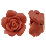 Polymer Ton Perlen , Blume, orange, 24x23mm, Bohrung:ca. 1mm, 100PCs/Tasche, verkauft von Tasche