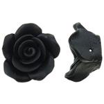 Polymer Ton Perlen , Blume, schwarz, 20x11mm, Bohrung:ca. 1mm, 100PCs/Tasche, verkauft von Tasche