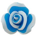 Beads polimer balta, Polymer Clay, Lule, asnjë, blu, 15x10mm, : 1mm, 100PC/Qese,  Qese
