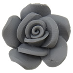 Beads polimer balta, Polymer Clay, Lule, asnjë, gri, 24x23x13mm, : 2mm, 100PC/Qese,  Qese