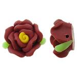 Beads polimer balta, Polymer Clay, Lule, asnjë, i kuq, 17x16x10mm, : 1.5mm, 100PC/Qese,  Qese