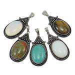 Agat pendants bizhuteri, Agat përziera, Lot, 30x65x10mm, : 5x7mm, 30PC/Qese,  Qese