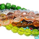 Beads Crystal, Kristal, Nuggets, ngjyra të përziera, 5-18mm, : 0.5-2mm, :8-15Inç, 200Fillesat/Qese,  Qese