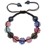 Rrëshirë Shamballa Bracelets, with Cord najlon & Jo-magnetike kuqe e mbylltë & Rrëshirë diamant i rremë, endura, me diamant i rremë, ngjyra të përziera, 12x10mm, :7.5Inç, 10Fillesat/Shumë,  Shumë