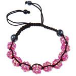 Rrëshirë Shamballa Bracelets, with Cord najlon & Jo-magnetike kuqe e mbylltë & Rrëshirë diamant i rremë, endura, me diamant i rremë, 10x8mm, :7.5Inç, 10Fillesat/Shumë,  Shumë