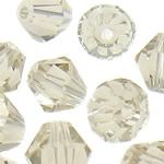Swarovski Crystal Beads, Bicone, Silver shampanjë, 6mm, : 1mm, 50PC/Qese,  Qese