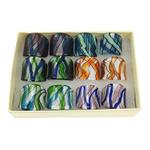 Ring Finger lampwork, petë argjendi, ngjyra të përziera, 27x27x26mm, : 17mm, :7, 12PC/Kuti,  Kuti