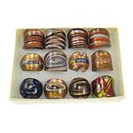 Ring Finger lampwork, rërë ari, ngjyra të përziera, 26x27x25mm, : 17mm, :7, 12PC/Kuti,  Kuti